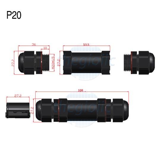 P20-2P Đầu Nối Chống Nước IP68 Dây 7-12mm