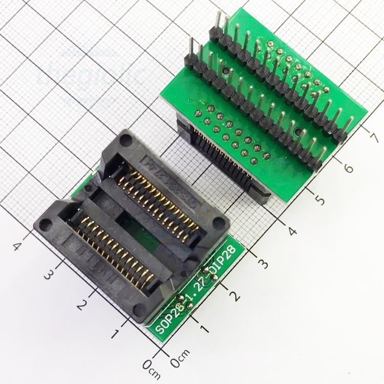 Socket Đổi Chân IC SOP28-DIP28 Xanh Lá