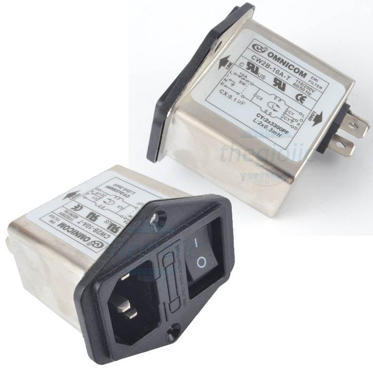 Bộ Lọc Nguồn 1 Pha 10A 115/250V CW2B-10A-T