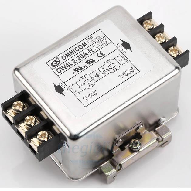 Bộ Lọc Nguồn 1 Pha 20A 115/250V CW4L2-20A-R Gắn Ray