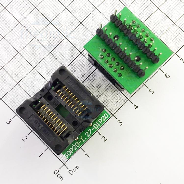 Socket Đổi Chân IC SOP20-DIP20 27x24mm