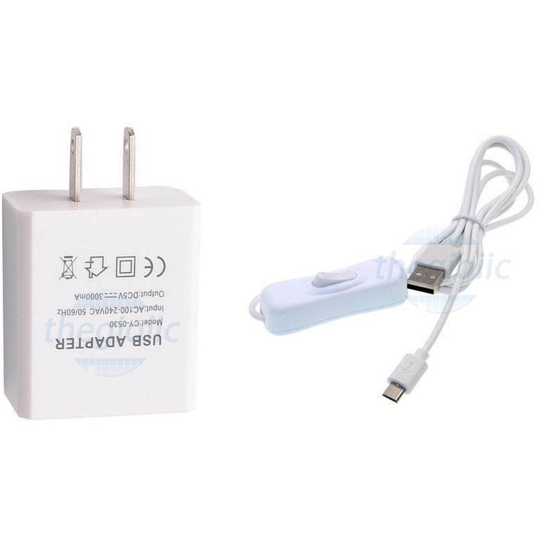 Nguồn Adapter 5V3A Trắng Đầu USB Type-C Cho Raspberry Pi 4/4B