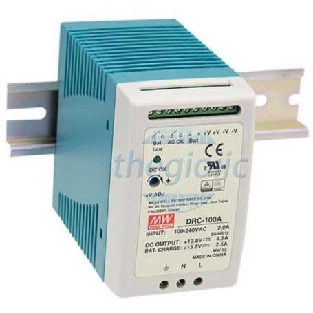 DRC-100A Nguồn Meanwell Đôi Gắn Ray 13.8V4.5A  13.8V2.5A