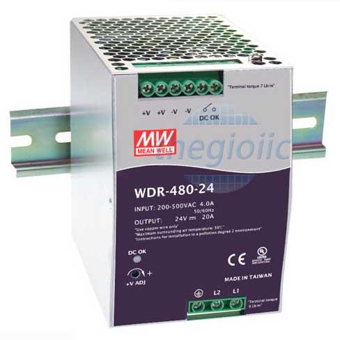 WDR-480-48 Nguồn Meanwell Gắn Ray 48V 10A