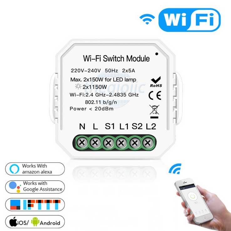 Công Tắc WiFi 2 Kênh MS-104 10A