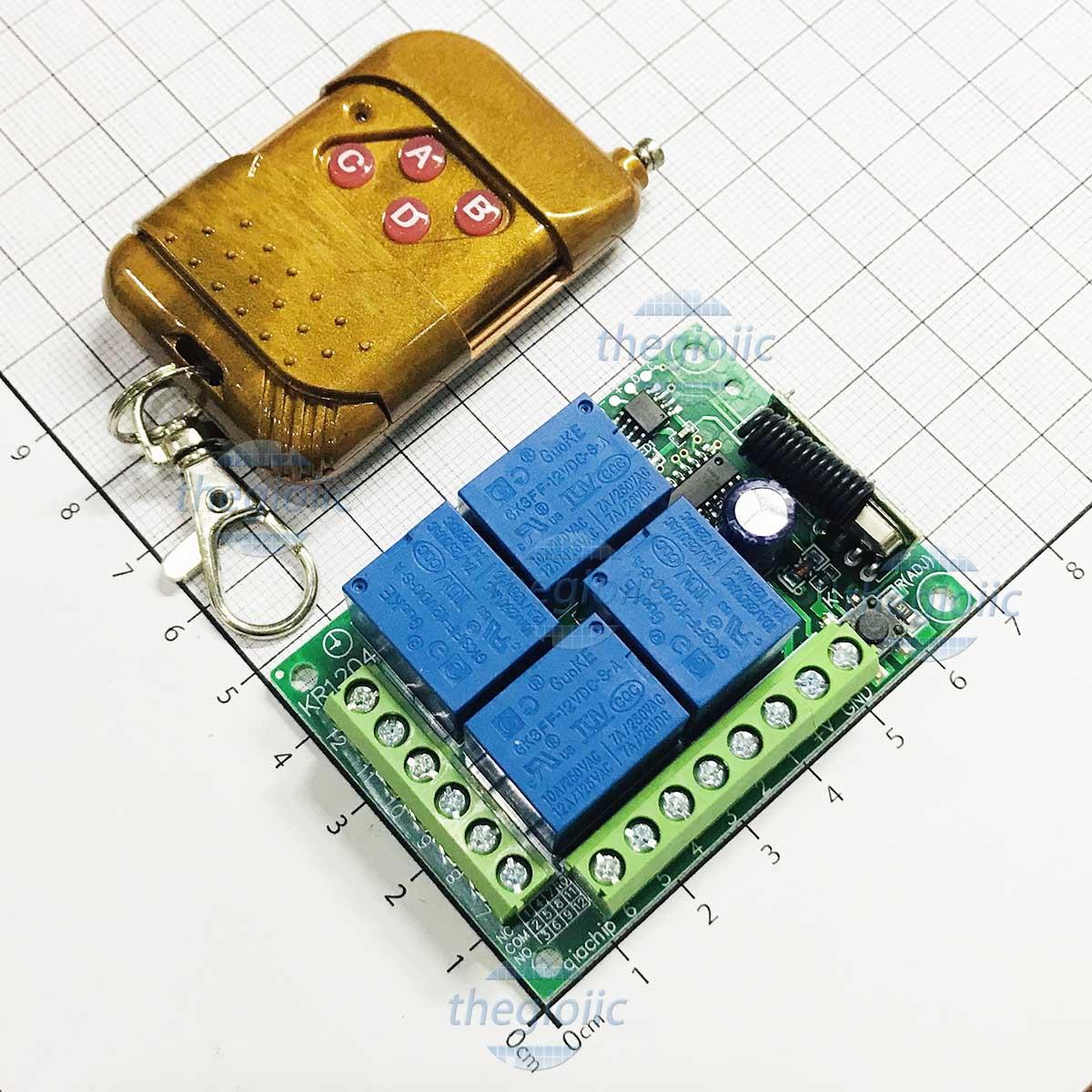 Remote Điều Khiển 433Mhz 4 Relay 12V 10A