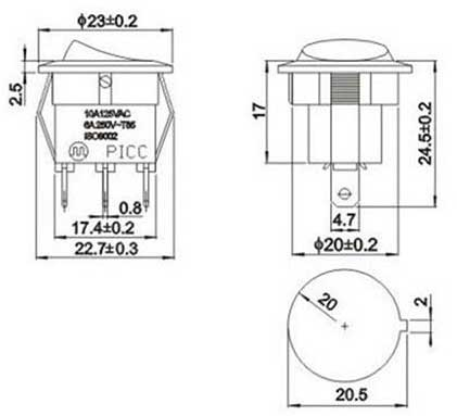 KCD1-105 Công Tắc ON-OFF-ON 3Pin 6A