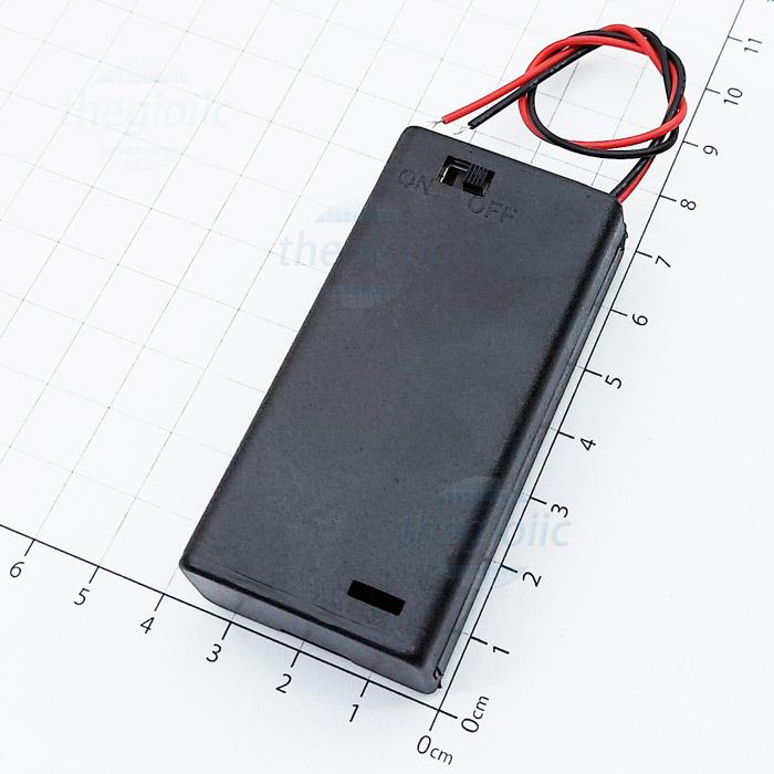 Hộp Pin 2xAA Nắp Đậy Công Tắc On-Off