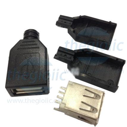 Cổng USB2.0 TypeA 4Pin Đầu Cái Hàn Dây