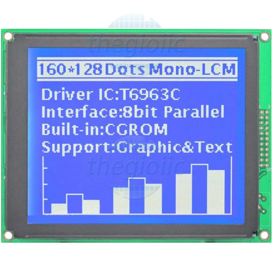 LCD 160128 Nền Xanh Dương Chữ Trắng