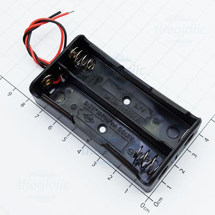 Hộp Pin 2x18650 Nối Dây 15cm