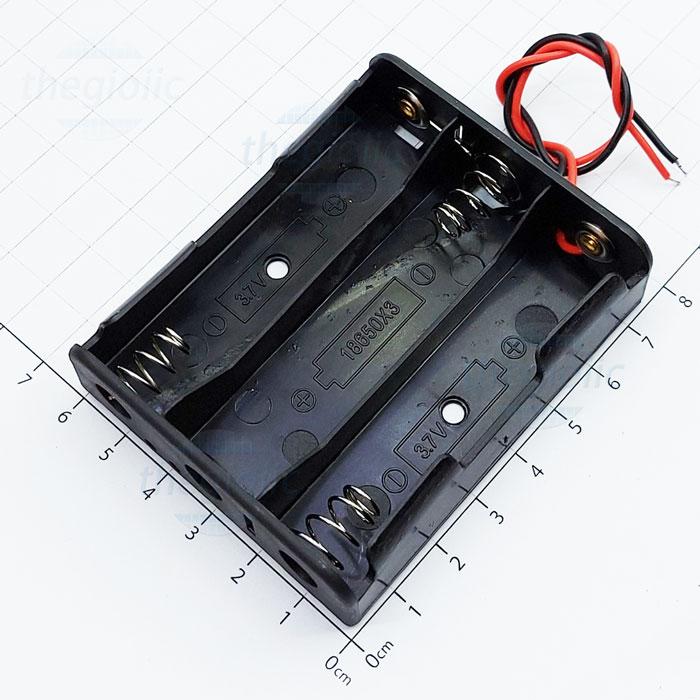Hộp Pin 3x18650 Nối Dây 15cm