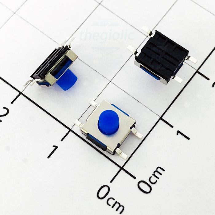 Nút Nhấn 6.2x6.2x5.5 4Pin SMD Đầu Xanh