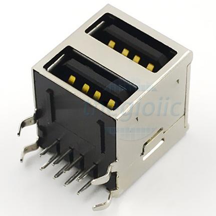 Cổng USB2.0 TypeA Đầu Cái Đôi 8Pin 90 Độ