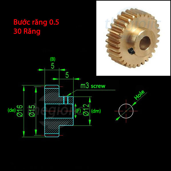 T30-H3-P05 Bánh Răng Lỗ 6mm