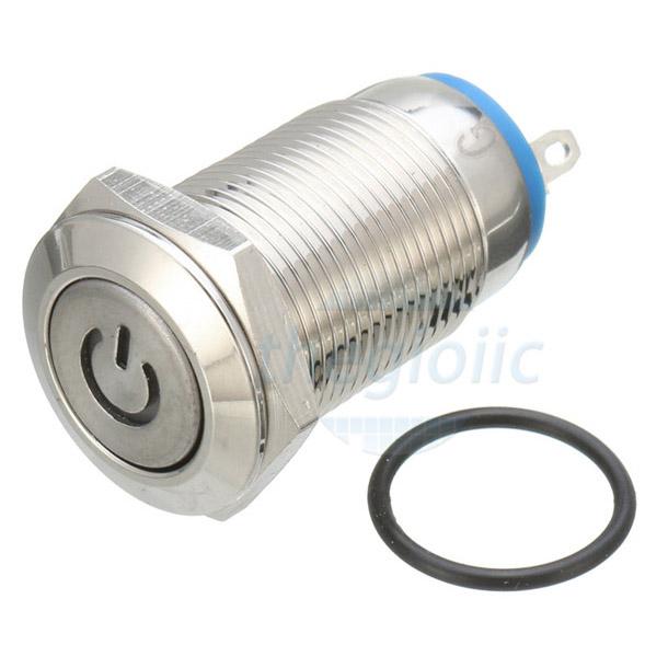 Nút Nhấn Giữ LED Vàng 12mm 220V Inox 304 4Pin