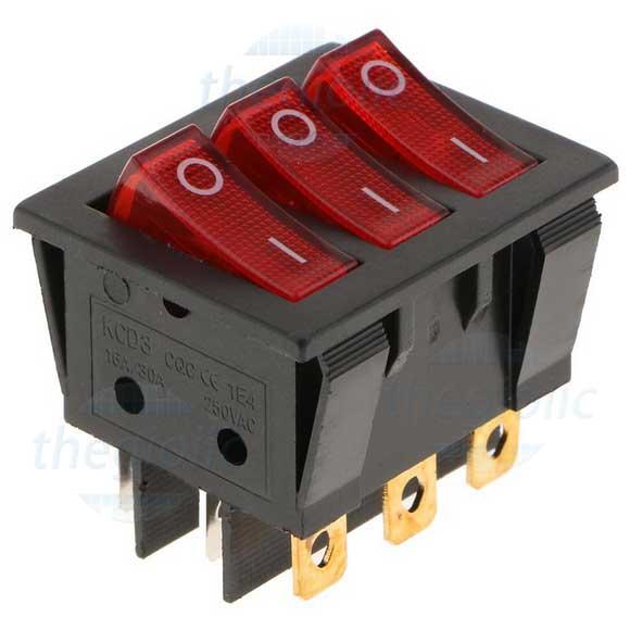 KCD3-3W Công Tắc Ba ON-OFF 9Pin 16A LED Đỏ