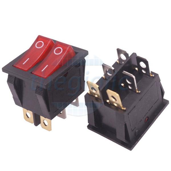 KCD3-2W Công Tắc Đôi ON-OFF 6Pin 6A LED Đỏ