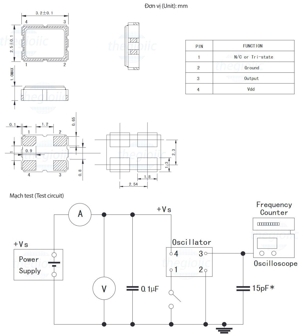 Bộ Dao Động 25MHz CMOS 3225 4-Pin SMD