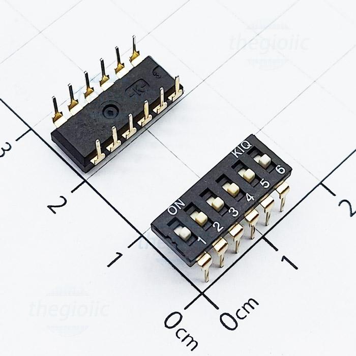 Công Tắc 6Bit Gạt Top Dip Switch Đen