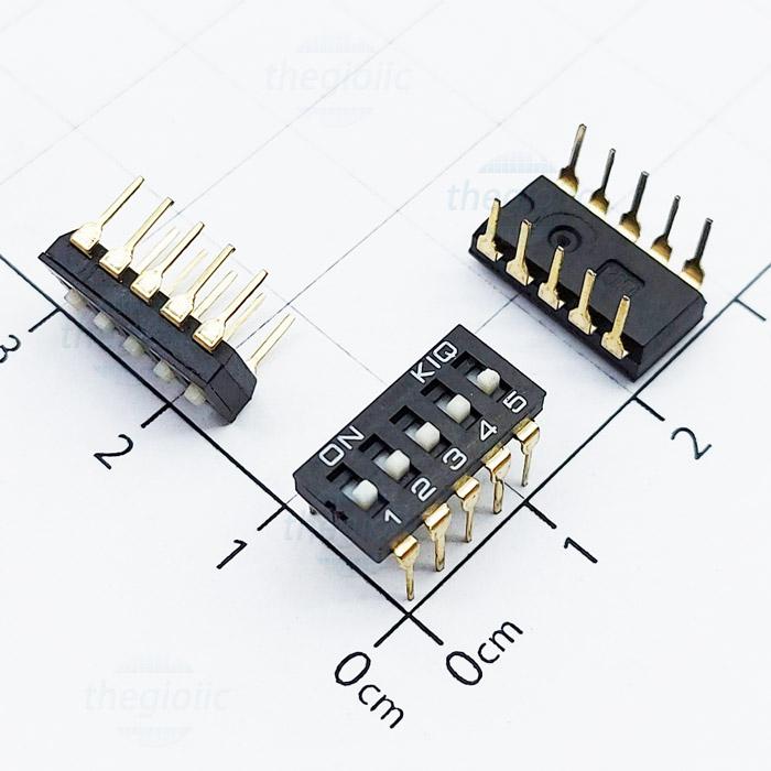 Công Tắc 5Bit Gạt Top Dip Switch Đen