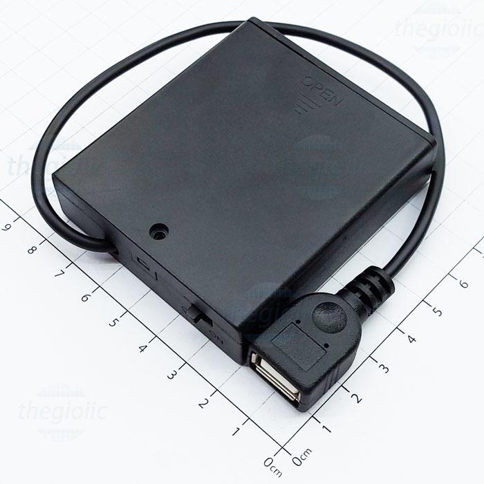 Hộp Pin 4xAA USB Nắp Đậy Công Tắc On-Off