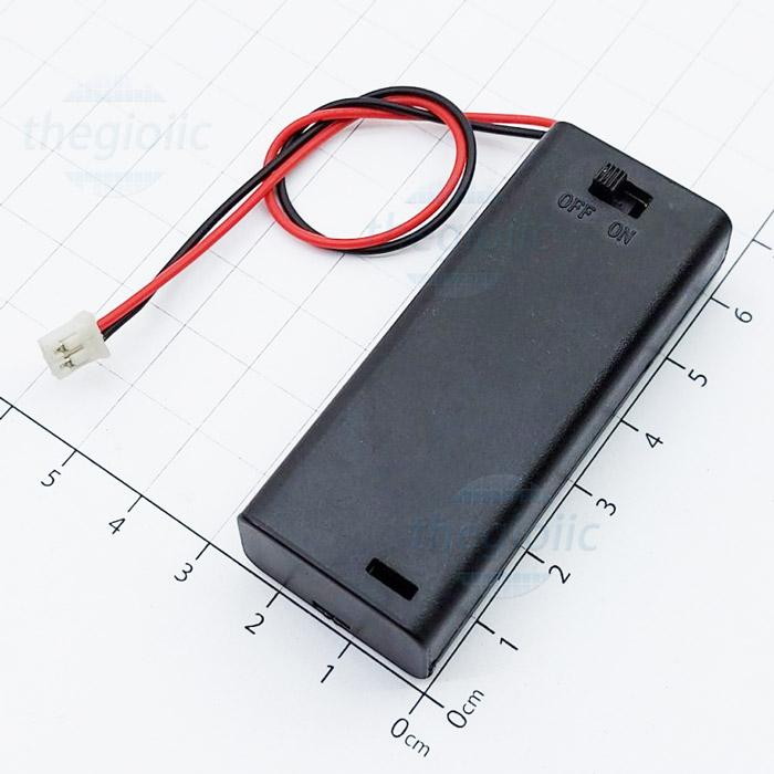 Hộp Pin 2xAAA Nắp Đậy Công Tắc On-Off Dây PH2.0